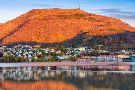 Mt. Ulriken at sunset, Bergen Norway Banco de Imagens