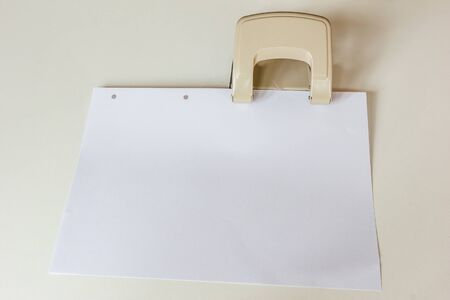 paper punch: Punch (office accessory) with the paper.