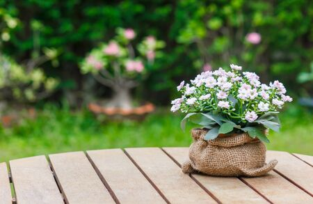 Flower bouquet in a sack on wooden table. With garden in background.