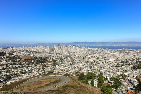 usa: San Francisco town view from twin peaks, USA. Stock Photo