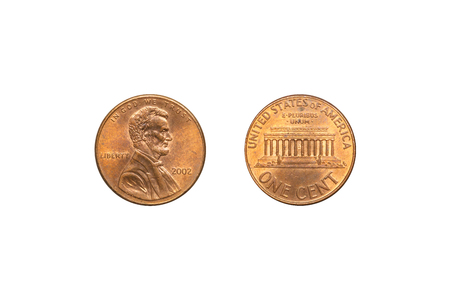 Front and back of USA coin 1 cent with clipping path.