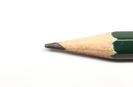 Macro of pencil on white background.