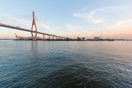 chao praya: Bhumibol bridge above Chao praya river in Bangkok,Thailand.