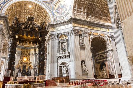 st  peter's basilica pope: Vatican City, Vatican - December 12, 2016: Saint Peters Basilica art and structure inside the basilica.