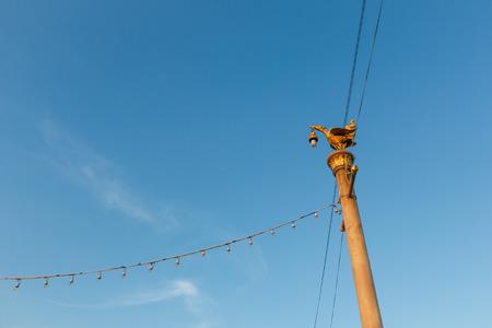 thailand flood: Light pole with blue sky in Bangkok,Thailand.