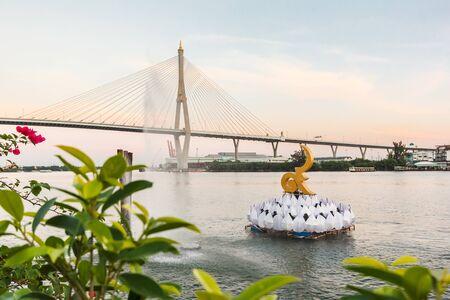 Bangkok, Thailand - November 29: Bhumibol bridge above Chao praya river in Bangkok,Thailand.
