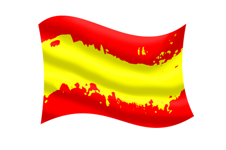 national identity: Color of Spanish flag ripple with clipping path. Stock Photo