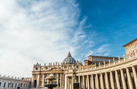 Saint Peters Basilica with blue sky. Redakční