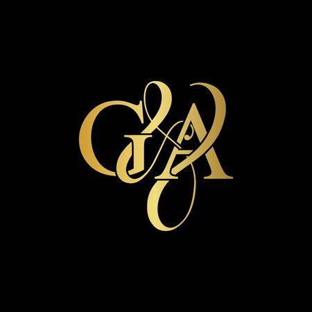 G & A / GA logo initial vector mark. Initial letter G and A GA logo luxury vector mark, gold color on black background.
