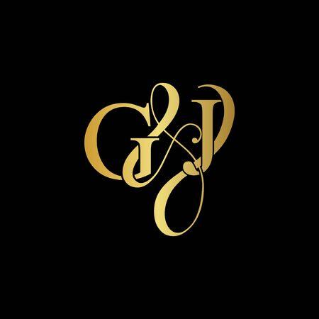 G & J  GJ logo initial vector mark. Initial letter G and J GJ logo luxury vector mark, gold color on black background. Illusztráció