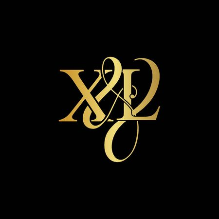 X & L X L logo initial vector mark. Initial letter X & L X L luxury art vector mark logo, rose gold, silver, gold color on black background.