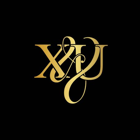 X & U X U logo initial vector mark. Initial letter X & U X U luxury art vector mark logo, rose gold, silver, gold color on black background.
