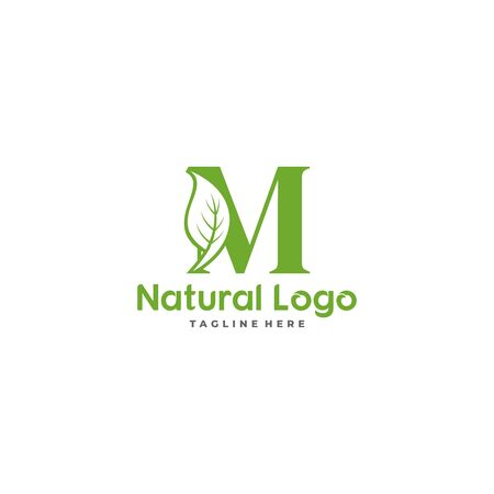 Letter M With Leaf Logo. Green leaf logo icon vector design. Landscape design, garden, Plant, nature and ecology vector. Ecology Happy life Logotype concept icon. Editable file. Illustration