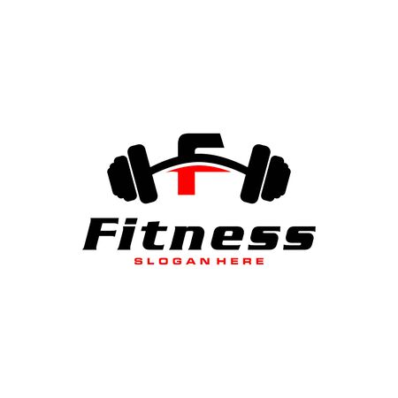 Letter F Logo With barbell. Fitness Gym logo. fitness vector logo design for gym and fitness. Stockfoto - 128377978