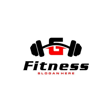 Letter G Logo With barbell. Fitness Gym logo. fitness vector logo design for gym and fitness. Stockfoto - 128377982