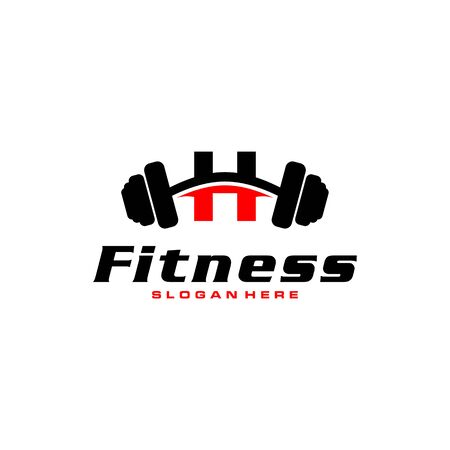 Letter H Logo With barbell. Fitness Gym logo. fitness vector logo design for gym and fitness. Stock Illustratie