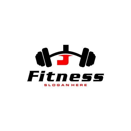 Letter J Logo With barbell. Fitness Gym logo. fitness vector logo design for gym and fitness. Illusztráció