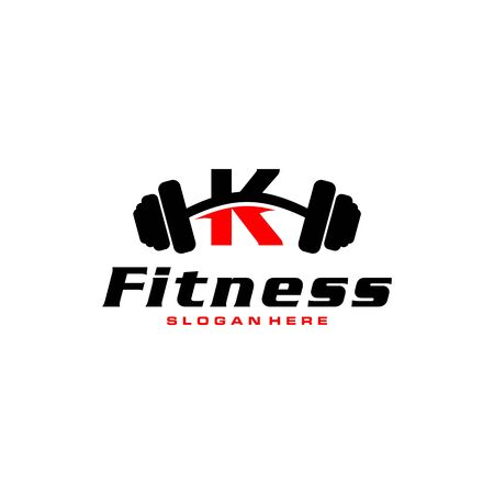 Letter K Logo With barbell. Fitness Gym logo. fitness vector logo design for gym and fitness.