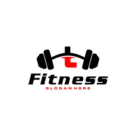 Letter L Logo With barbell. Fitness Gym logo. fitness vector logo design for gym and fitness. Stockfoto - 128377981