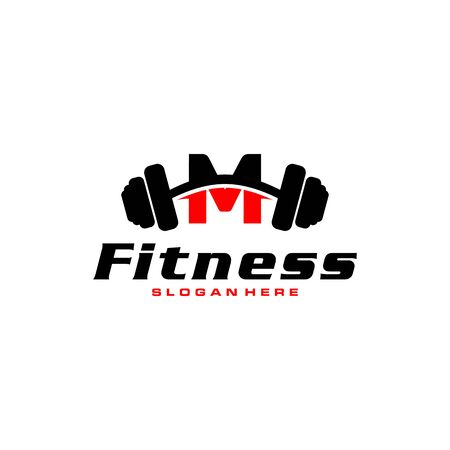 Letter M Logo With barbell. Fitness Gym logo. fitness vector logo design for gym and fitness.