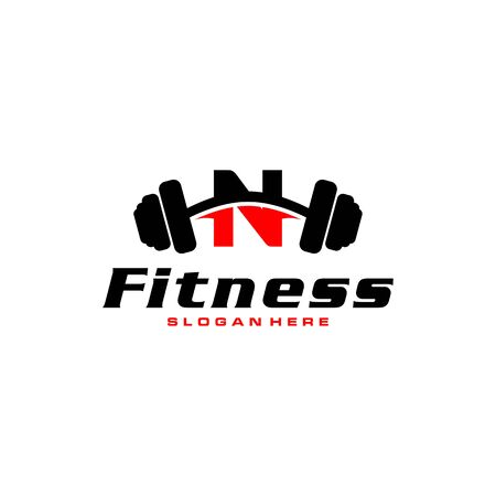 Letter N Logo With barbell. Fitness Gym logo. fitness vector logo design for gym and fitness.