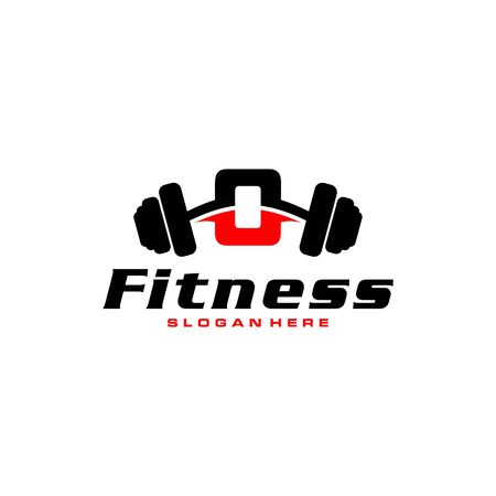 Letter O Logo With barbell. Fitness Gym logo. fitness vector logo design for gym and fitness.