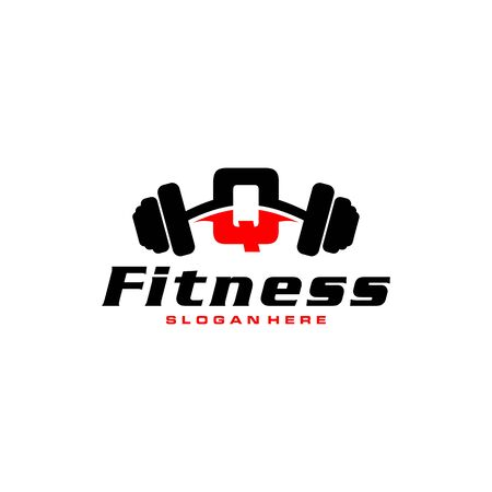 Letter Q Logo With barbell. Fitness Gym logo. fitness vector logo design for gym and fitness. Stock Illustratie