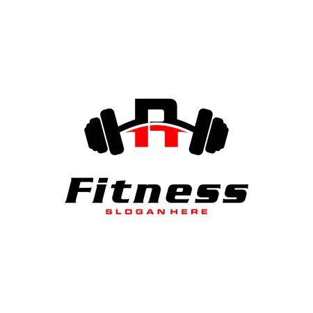 Logo de la lettre R avec haltères. Logo de salle de remise en forme. création de logo vectoriel de remise en forme pour la salle de sport et la remise en forme. Logo
