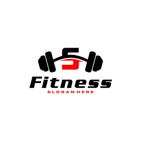 Letter S Logo With barbell. Fitness Gym logo. fitness vector logo design for gym and fitness.