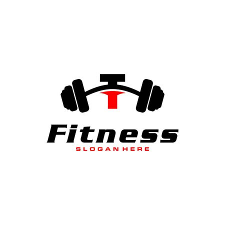 Letter T Logo With barbell. Fitness Gym logo. fitness vector logo design for gym and fitness.