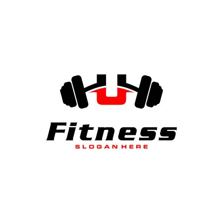 Letter U Logo With barbell. Fitness Gym logo. fitness vector logo design for gym and fitness.