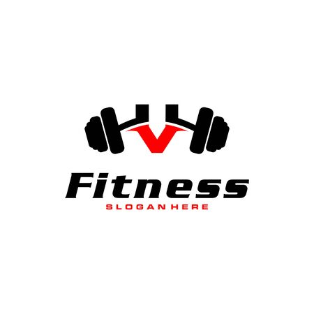 Letter V Logo With barbell. Fitness Gym logo. fitness vector logo design for gym and fitness.