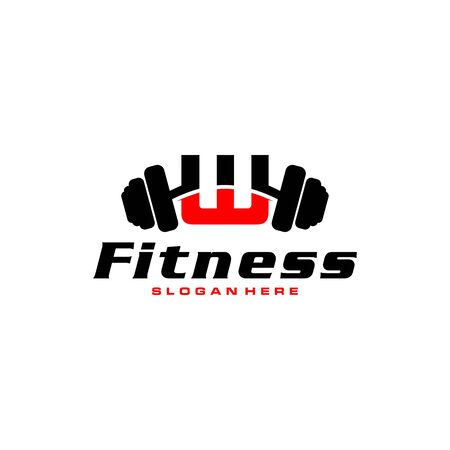 Letter W Logo With barbell. Fitness Gym logo. fitness vector logo design for gym and fitness.