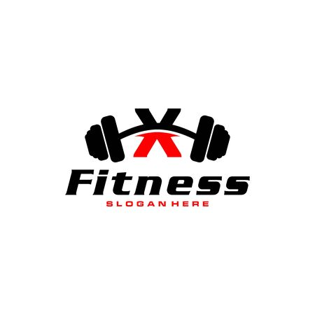 Letter X Logo With barbell. Fitness Gym logo. fitness vector logo design for gym and fitness.