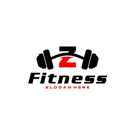 Letter Z Logo With barbell. Fitness Gym logo. fitness vector logo design for gym and fitness. Stock Illustratie