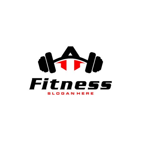 Letter A Logo With barbell. Fitness Gym logo. fitness vector logo design for gym and fitness. Stock Illustratie