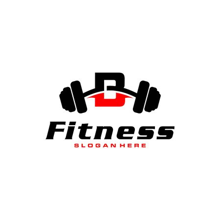 Letter B Logo With barbell. Fitness Gym logo. fitness vector logo design for gym and fitness.