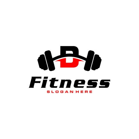 Letter D Logo With barbell. Fitness Gym logo. fitness vector logo design for gym and fitness.