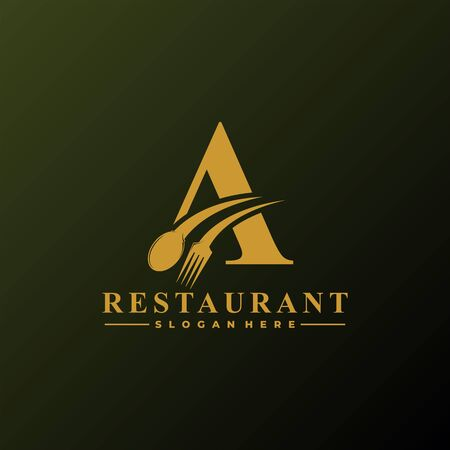 Initial Letter A Logo with Spoon And Fork for Restaurant logo Template. Editable file.