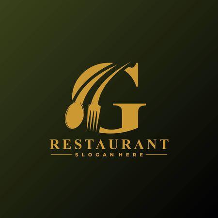 Anfangsbuchstabe G Logo mit Löffel und Gabel für Restaurant-Logo-Vorlage. Bearbeitbare Datei EPS10. Logo