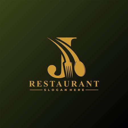 Anfangsbuchstabe J Logo mit Löffel und Gabel für Restaurant-Logo-Vorlage. Bearbeitbare Datei EPS10.