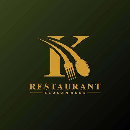 Anfangsbuchstabe K-Logo mit Löffel und Gabel für Restaurant-Logo-Vorlage. Bearbeitbare Datei EPS10. Logo