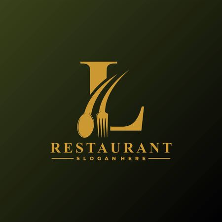 Initial Letter L Logo with Spoon And Fork for Restaurant logo Template. Editable file EPS10.
