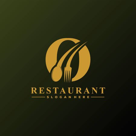 Initial Letter O Logo with Spoon And Fork for Restaurant logo Template. Editable file EPS10.
