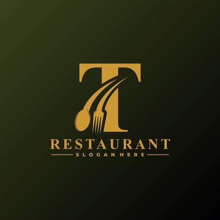 Anfangsbuchstabe T-Logo mit Löffel und Gabel für Restaurant-Logo-Vorlage. Bearbeitbare Datei EPS10. Logo