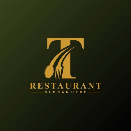 Initial Letter T Logo with Spoon And Fork for Restaurant logo Template. Editable file EPS10. Logó