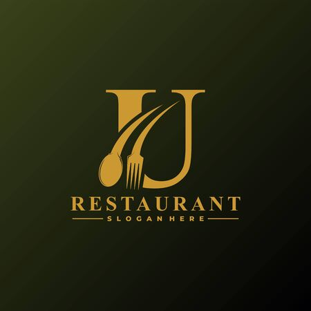 Initial Letter U Logo with Spoon And Fork for Restaurant logo Template. Editable file EPS10. Logo