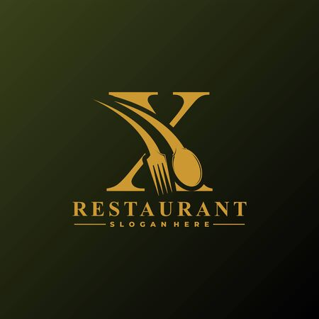 Initial Letter X Logo with Spoon And Fork for Restaurant logo Template. Editable file EPS10.
