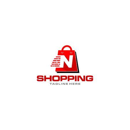 Letter N on shopping bag. Abstract shopping logo. Initial letter online shop logo.