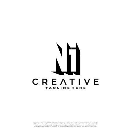 NI Letter Initial Logo Design in shadow shape design concept Logó